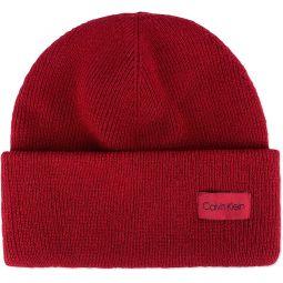 Calvin Klein Mens Ribbed Knit Cuffed Beanie Hat Red O/S