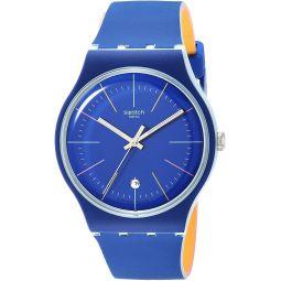 Swatch Essentials Quartz Silicone Strap, Blue, 20 Casual Watch (Model: SUOS403)