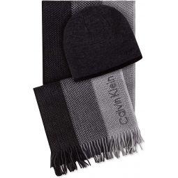 Calvin Klein Mens Ombre Stripe Hat & Scarf Set Black O/S