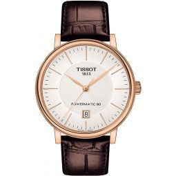 Tissot Carson T122.407.11.031.00 POWERMATIC 80 Rose Gold Brown Leather Automatic Watch