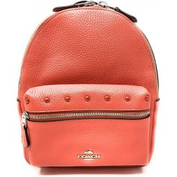 Coach Mini Charlie Backpack with Border Studs SV/Coral