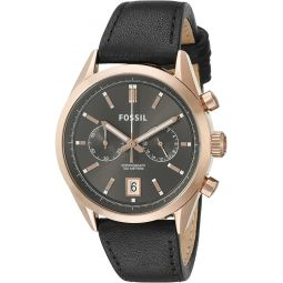 Fossil Mens CH2991 Del Rey Chronograph Leather Watch -Black