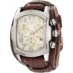 Invicta Mens 11322 Lupah Chronograph Beige Dial Brown Leather Watch