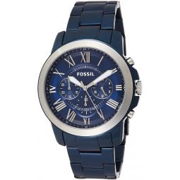 Fossil Mens Quartz Watch with Stainless-Steel Strap, Blue, 22 (Model: FS5230)
