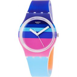 Swatch Mens Quartz Watch with Silicone Strap, Multicolour, 16 (Model: GE260)