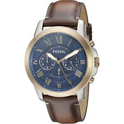 Fossil Mens FS5150 Grant Chronograph Dark Brown Leather Watch