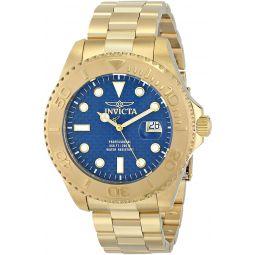 Invicta Mens 15193 Pro Diver Analog Display Swiss Quartz Gold-Plated Watch, Blue