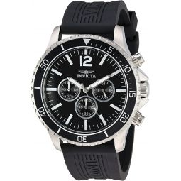 Invicta Mens Pro Diver Stainless Steel Quartz Watch with Polyurethane Strap, Black, 24 (Model: 24393)