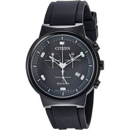 Citizen Mens Eco-Drive Stainless Steel Japanese-Quartz Watch with Polyurethane Strap, Black, 21.5 (Model: AT2405-01E)
