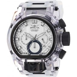 Invicta Mens Bolt Stainless Steel Quartz Watch with Silicone Strap, Transparent, 34 (Model: 29995)