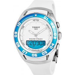 Tissot T-Touch Sailing Touch Multi-Function GMT Perpetual Calendar Analog Digital Alarm Watch - Chronograph stopwatch, Countdown, Compass, White Rubber Band Luminous Swiss Watch T0