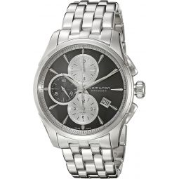 Hamilton Mens Jazzmaster Swiss Automatic Stainless Steel Watch, Color:Silver-Toned (Model: H32596181)