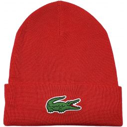 Lacoste Mens Big Croc Beanie, Adult, Red, OS