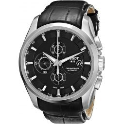 Tissot Mens T0356271605100 T-Trend Couturier Stainless Steel Watch With Black Leather Band