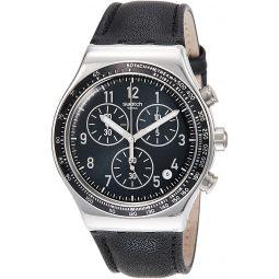 Swatch Mens Chic Sailor YVS448 Silver Leather Quartz Dress Watch