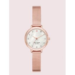 morningside mini rose gold-tone stainless steel mesh watch