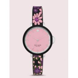 park row black floral-print silicone watch