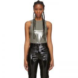 Grey Tech Patent Bodysuit