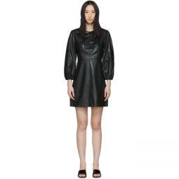 Black Faux-Leather Structured Mini Dress