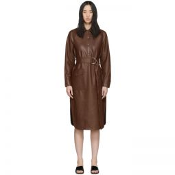 Brown Faux-Leather Shirt Dress