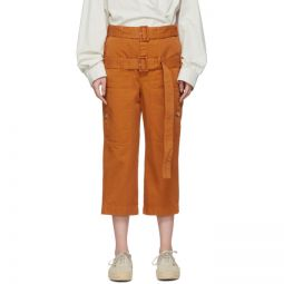 Orange Double-Belt Cropped Trousers