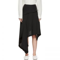 Black Silk Asymmetric Skirt