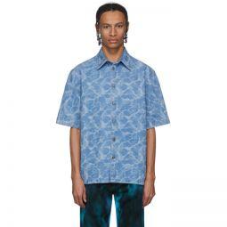 Blue Denim Tie-Dye Short Sleeve Shirt