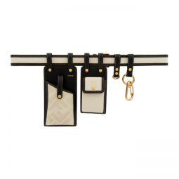 Black & Off-White Canvas Multi Pockets Belt Bag