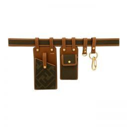 Brown & Green Canvas Multi Pockets Belt Bag
