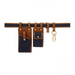 Indigo Denim Multi Pockets Belt Bag