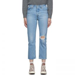 Blue Distressed Wedgie Straight Jeans