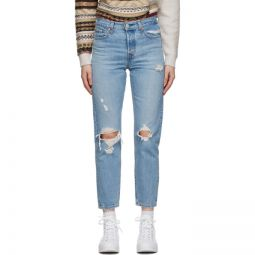 Blue Distressed Wedgie Fit Ankle Jeans