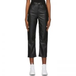 Black Faux-Leather Ribcage Straight Trousers