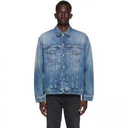 Blue Denim Oversized Distressed Jacket