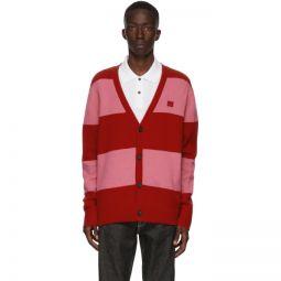 Red & Pink Block Stripe Cardigan