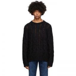 Black & Burgundy Cable-Knit Crewneck