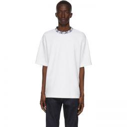 White Patch Motif Mock Neck T-Shirt