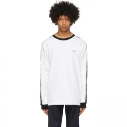 White Logo Stripe Long Sleeve T-Shirt