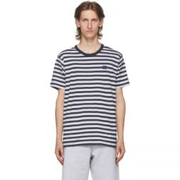 Navy & White Patch Striped T-Shirt