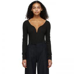 Grey Wool V-Neck Bodysuit