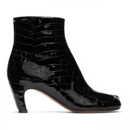 Black Croc Curved Heel Tabi Boots