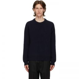 Navy Wool Rib Knit Sweater
