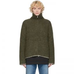 Green Wool 5 Gauge Zip-Up Sweater