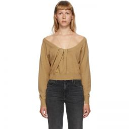 Brown Draped Neck Pullover Sweater