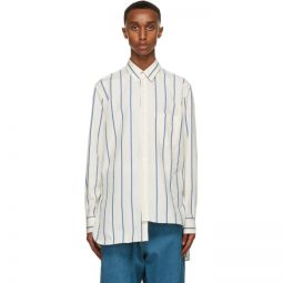 Off-White & Blue Asymmetric Shirt
