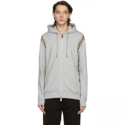 Grey Vintage Check Panel Zip-Up Hoodie