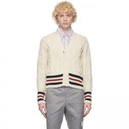 White Aran Cable Stripe Cardigan