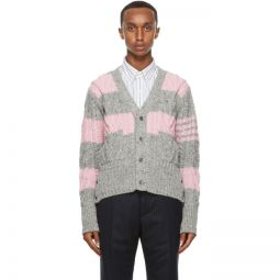 Pink & Grey Stripe Aran Cable 4-Bar Cardigan
