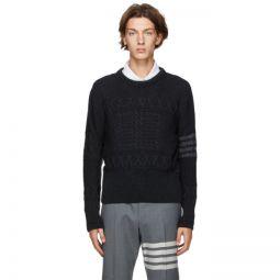 Grey Wool Aran Cable 4-Bar Crewneck Sweater