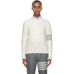 Off-White Wool Aran Cable 4-Bar Sweater